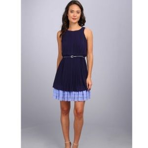 Jessica Simpson Pleated Dress with Tiered Skirt